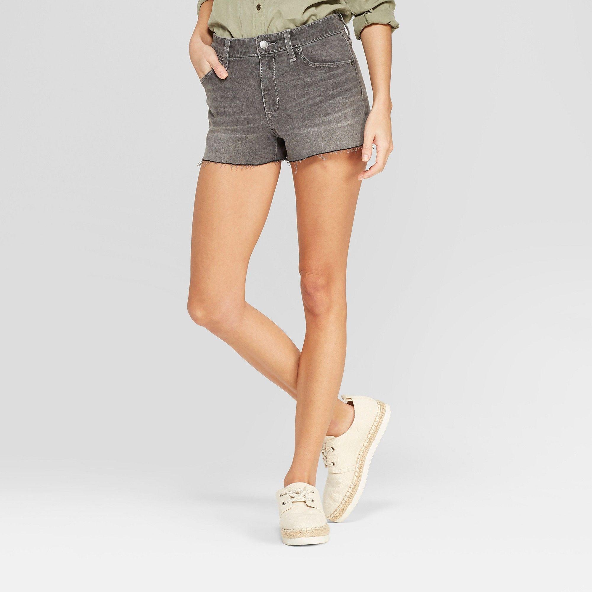 b9e833a7ac Women's High-Rise Jean Shorts - Universal Thread Gray Wash 16 in ...