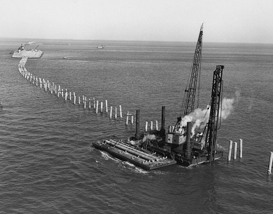 Construction of Chesapeak Bay BridgeTunnel. Big D was a