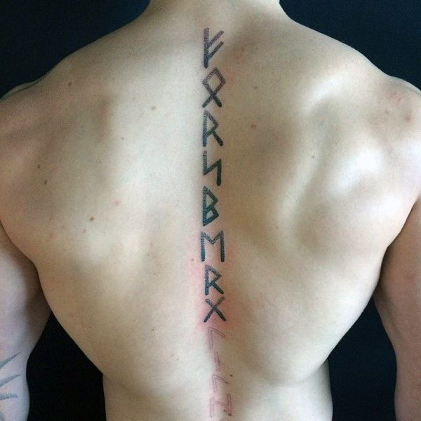 Vertical Spine Font Tattoos Men: Want Rune Tattoo Ideas? Here Are The Top 80 Best Rune