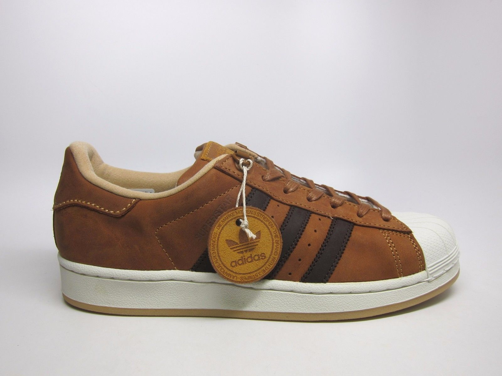 NEW MEN'S ADIDAS ORIGINALS SUPERSTAR SHOES [S82215] MESA//DARK BROWN-WHITE