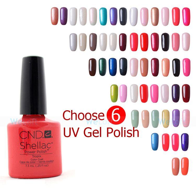 6PCS/Lot (6 Colors You Choose) 2014 New Fashion Colors Soak Off UV Gel Nail Polish Lacquer CND Shellac .25oz/7.3ml
