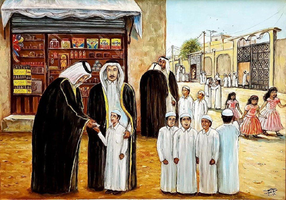 العيد الفنان حسن بوجسوم قطر Painting Art Kuwait