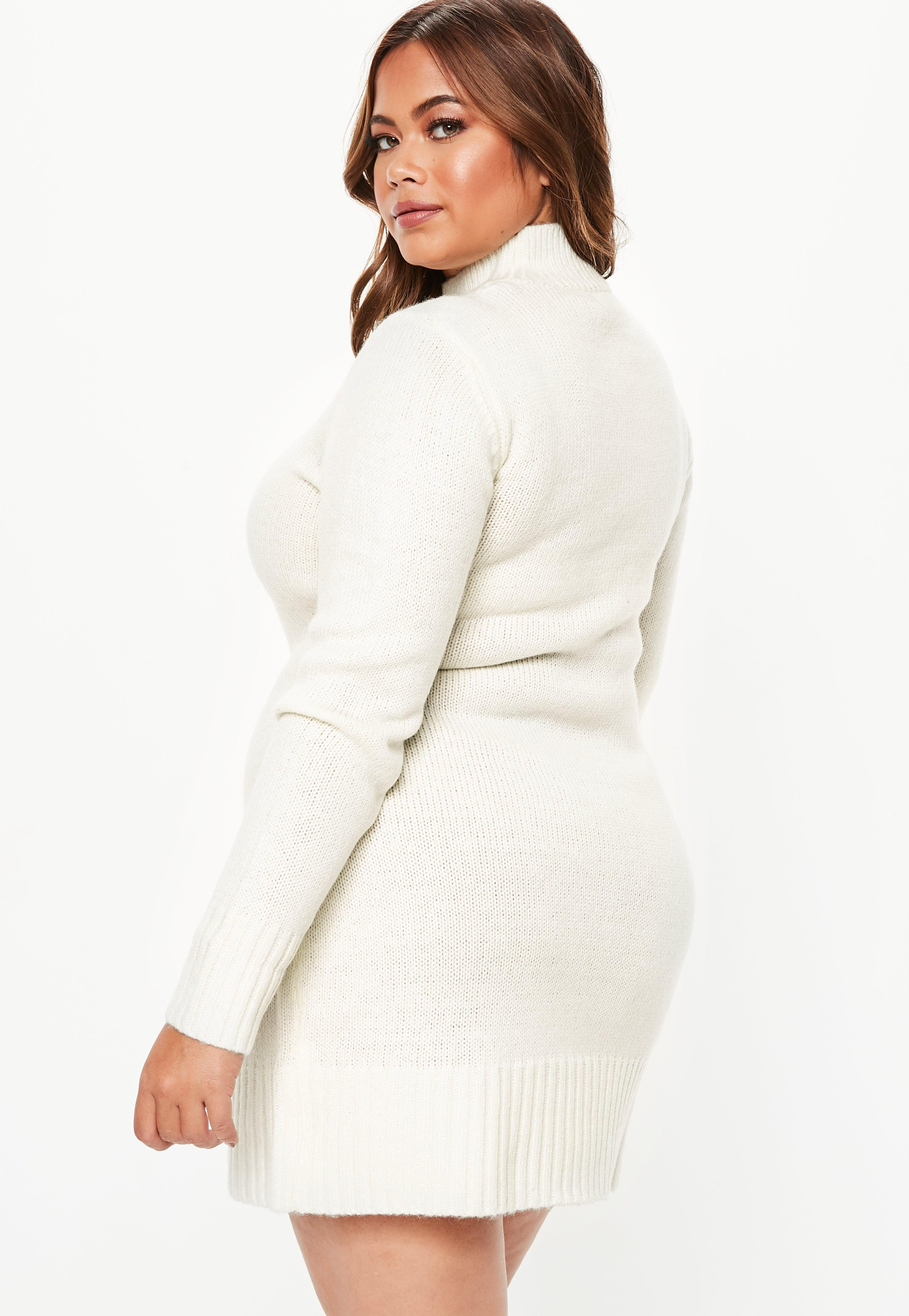 72ddbcfb1d9 Plus Size Cream Turtle Neck Sweater Dress  Sponsored  Turtle