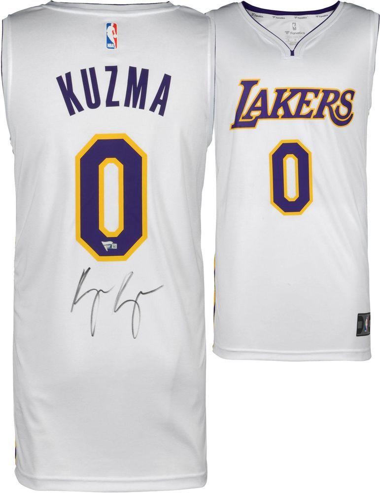 new concept 49657 19a05 Kyle Kuzma Lakers Autographed White Fanatics Replica Jersey ...