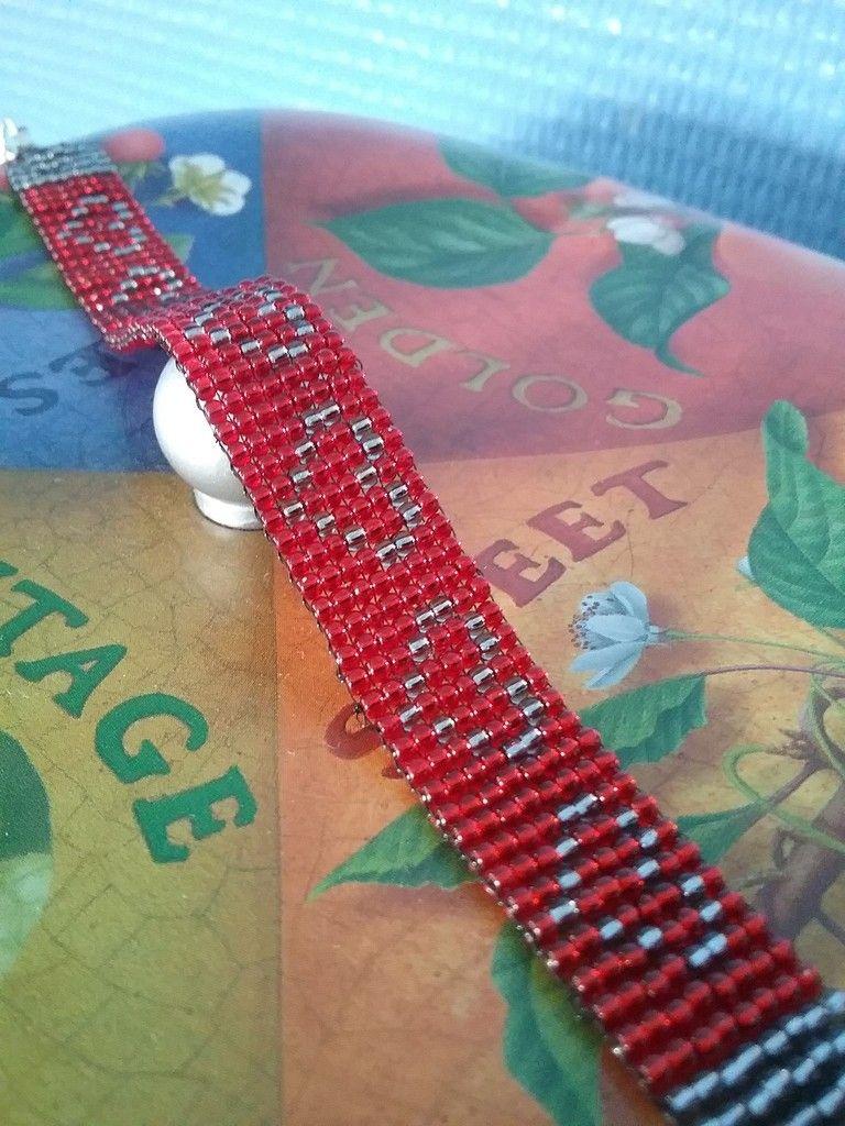 De Tissage Rouge Bracelet Et GrisBijoux Coeur Perles PiuZXk