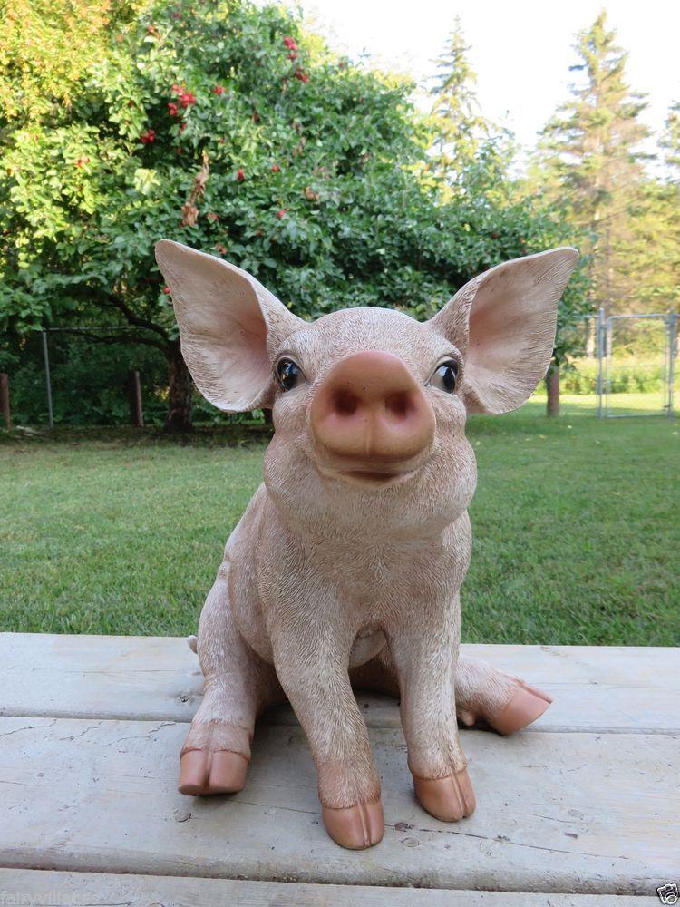 13 Inch PIG STATUE SITTING OINKER PIGLET RESIN GARDEN INDOOR FARM DECOR  Animal
