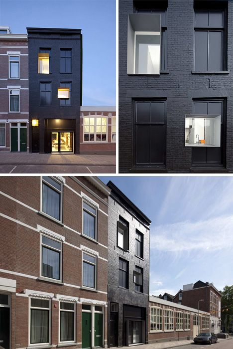 Like the jet black facade of this remodel  Interiors and