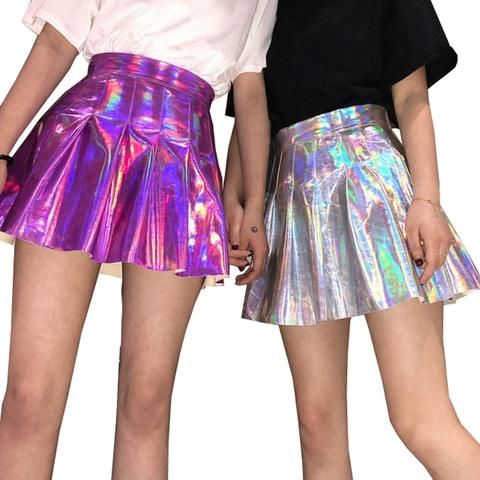 6b958adac6 Women Pleat Skirt Harajuku Laser Preppy Skirts Mini Cute School Uniforms  Ladies Jupe PU Leather Kawaii Skirt Saia Faldas SK6101