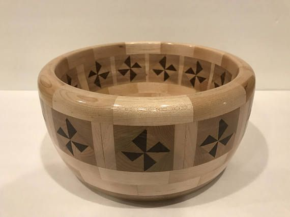 Segmented+Pinwheel+Lathe+Turned+Hardwood+Bowl