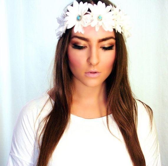 turquoise gem embellished flower crown headband boho