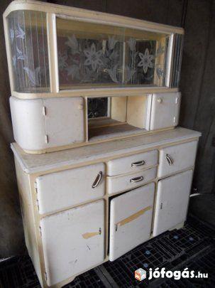 Vintage kredenc   régi felújított konyhaszekrény eladó - peinture pour relooker meuble en bois