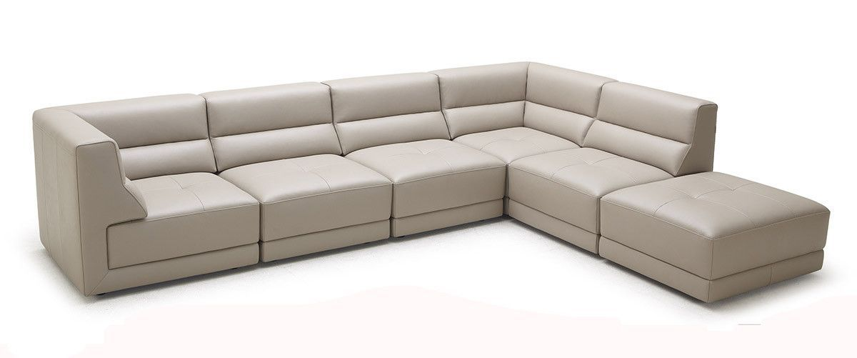 Divani Casa Hazel - Modern Taupe Eco-Leather Sectional Sofa with Ottoman