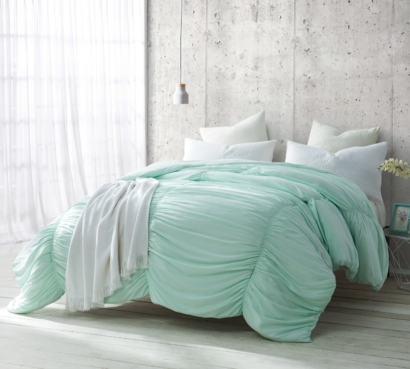 Oversized Unique Mint Green Waves Xl Queen Bedding With Extra Cozy Microfiber Feel Bed Linens Luxury Bedding Sets Dorm Bedding Sets