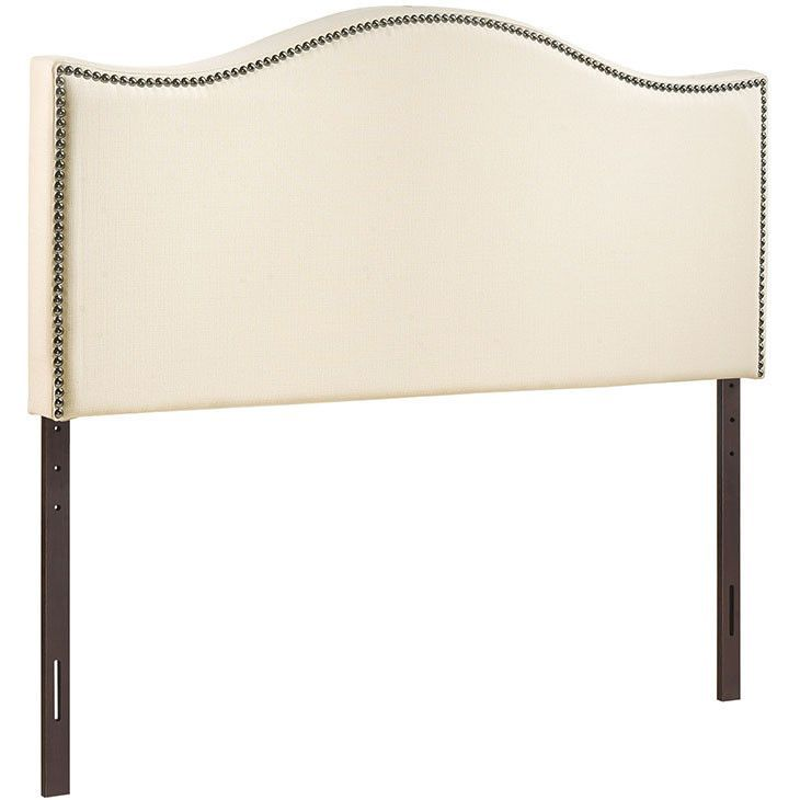 Upholstered Arched Nailhead Trim, Padded Textured Fabric Headboards ...