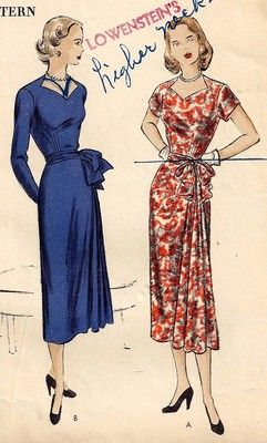 Vintage 40s VOGUE Pattern 3185 Day or Party Dress SWEETHEART NECKLINE Side DRAPE