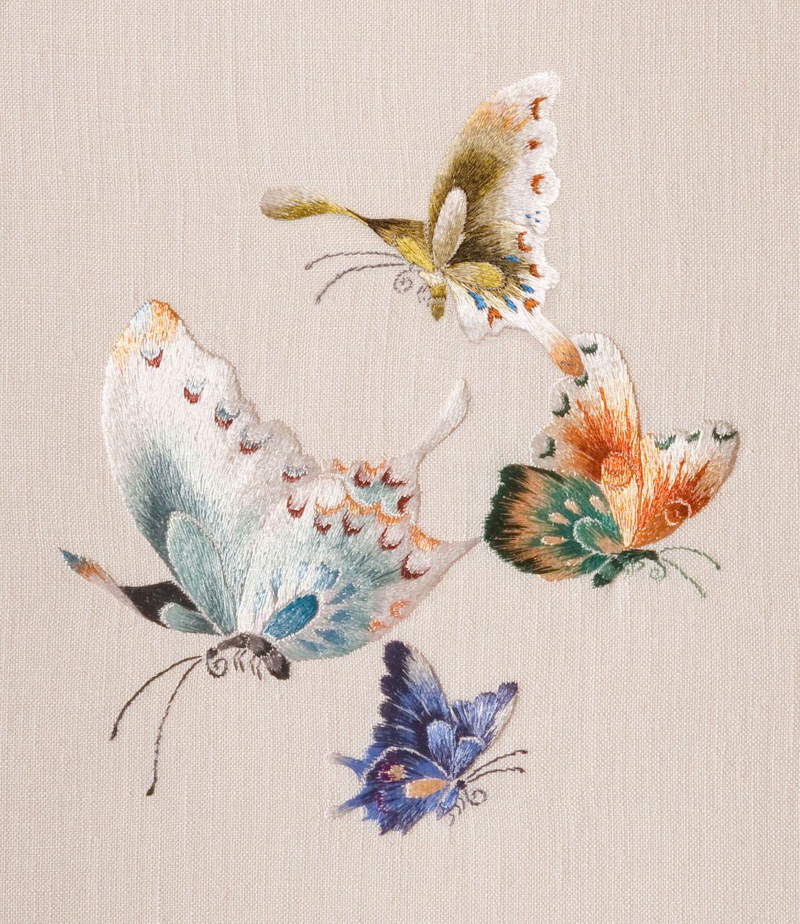 Butterflies l art de aiguille chinese dye design