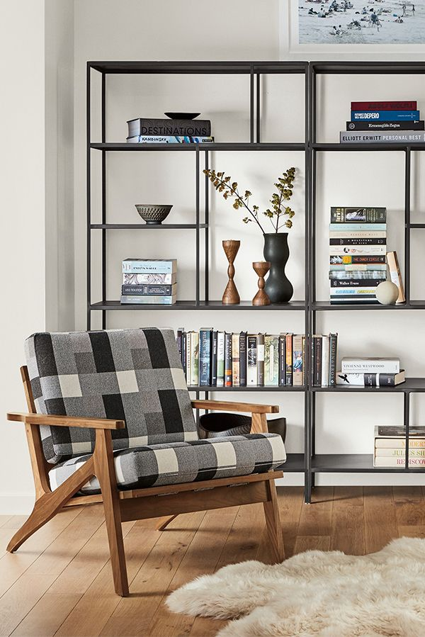 Living Room With Bookshelf: Foshay Bookcases In Natural Steel In 2019
