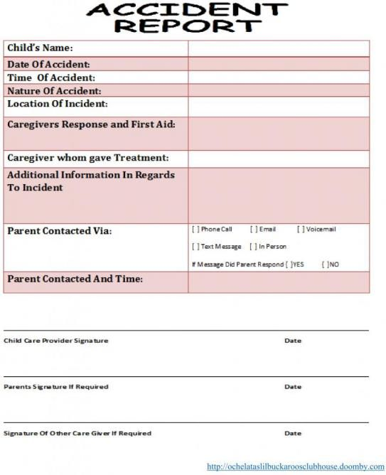 AccidentReport Sheet For Use In An InHome Daycare Visit Http