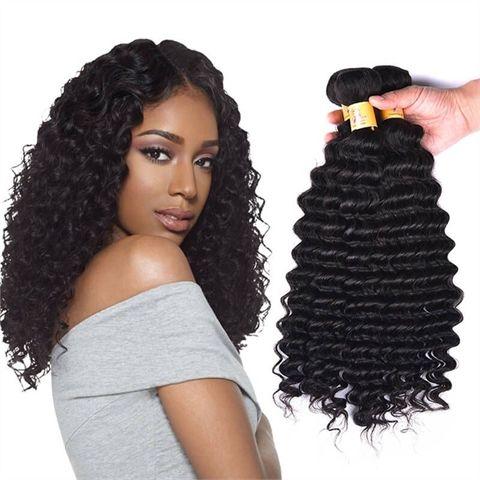 Unprocessed Peruvian 100% Remy Virgin Human Hair Deep Wave Natural Color 3 Bundles