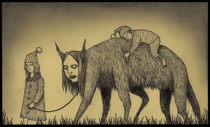 Born in Denmark in 1978, John Kenn spends his days writing and directing television shows for kids. When he has time between TV and his twins, he draws his creepy little monster drawings on post-it notes, peeking into a little window into a different world, made entirely on office supplies.