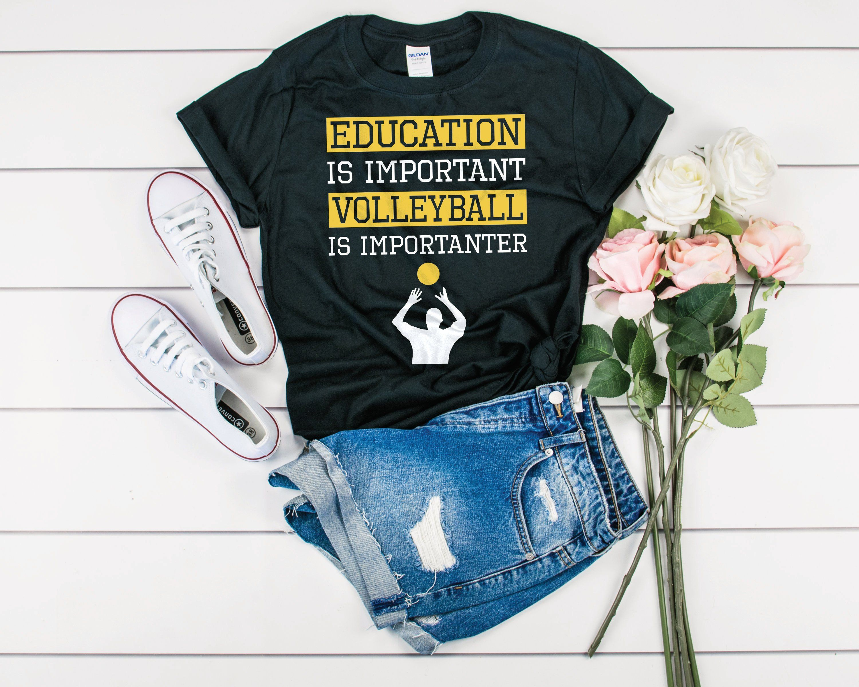 Education Is Important Volleyball Is Importanter Shirt Etsy Volleyball Outfits Basketball Shirts Funny Volleyball Shirts