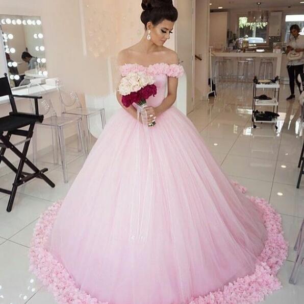 Fancy Pink Wedding Dress Simple Wedding Dress Off the Shoulder Bridal Gowns Women Ball