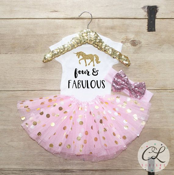 Fourth Birthday Tutu Outfit Baby Girl Clothes Four And Fabulou Unicorn 4 Year Old Set 4th 168