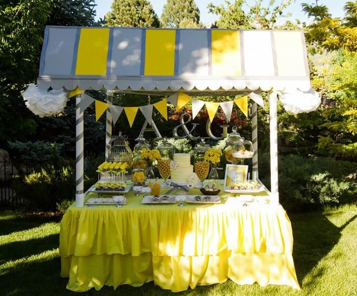Yellow and gray wedding dessert table with really cute ideas via yellow and gray wedding dessert table with really cute ideas via karas party ideas junglespirit Images