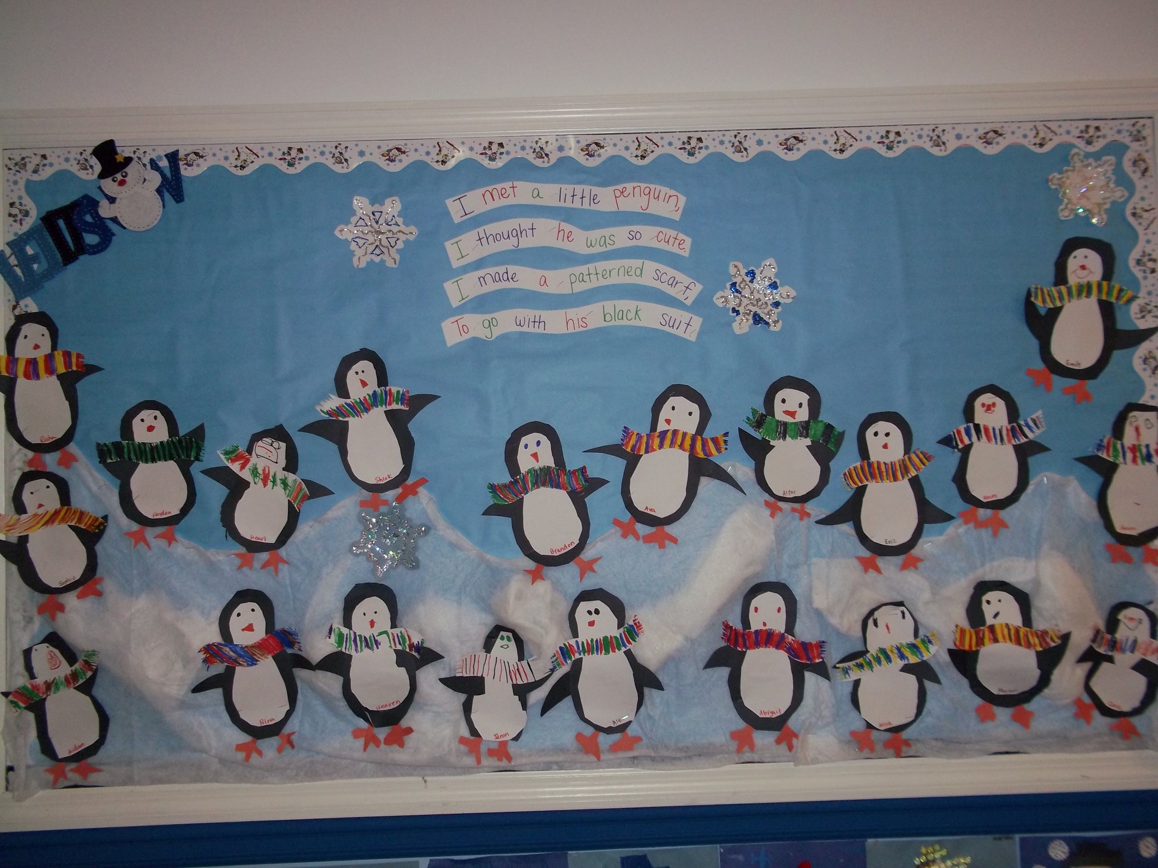 Penguin Board With Poem And Patterns