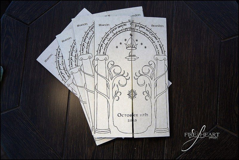 These invitations are stunning. --- A Lord of the Rings meets Harry Potter wedding as seen on @offbeatbride #harrypotter #lotr #weddings