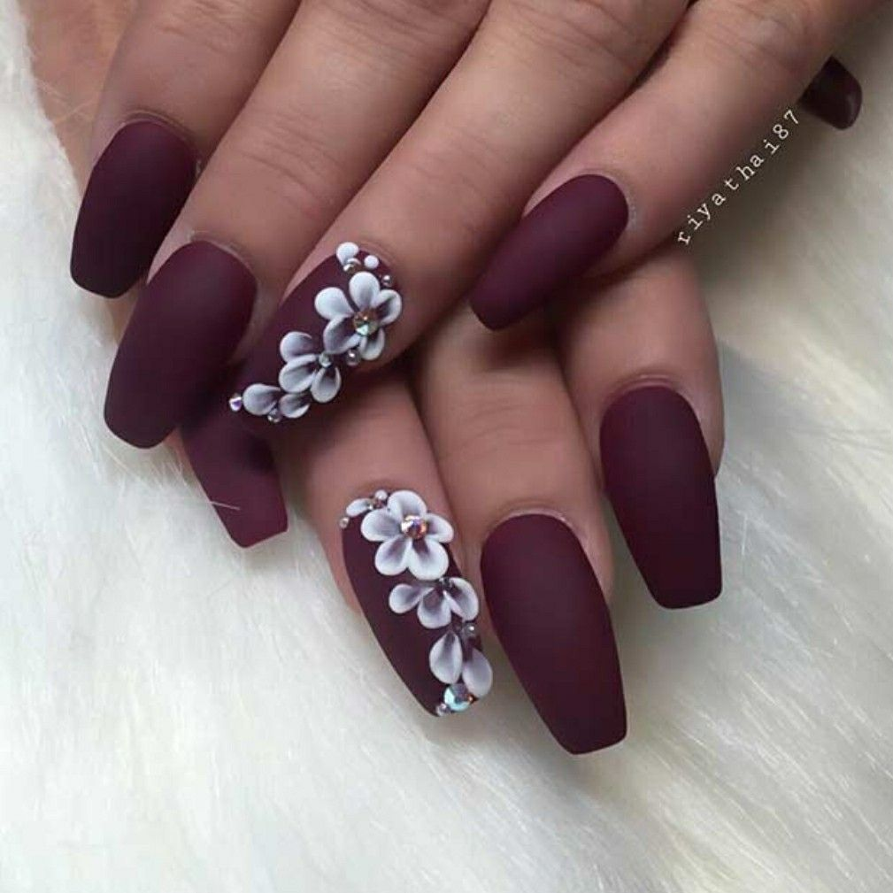Burgundy With White Flowers Matte Nails Design Nail Designs Coffin Nails Designs