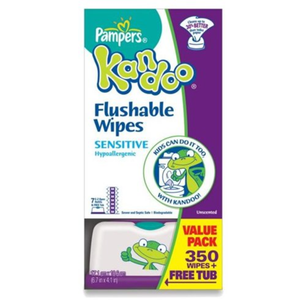 I'm learning all about Pampers Kandoo Flushable Wipes Value Pack Refill   Tub Sensitive at @Influenster!