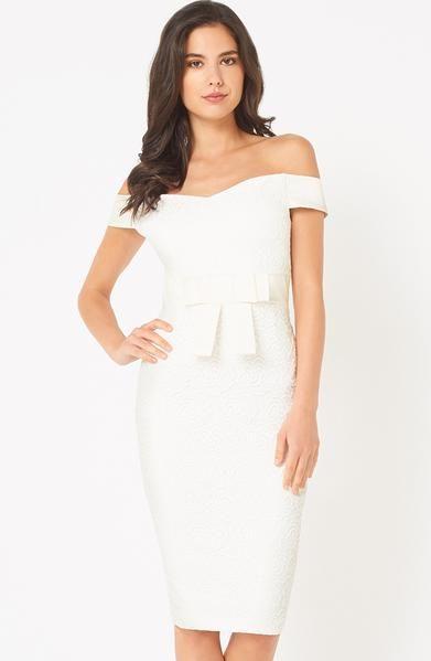 81985c76 Vesper Zara Ivory Lace Bardot Midi Dress – Vesper247 | My Style