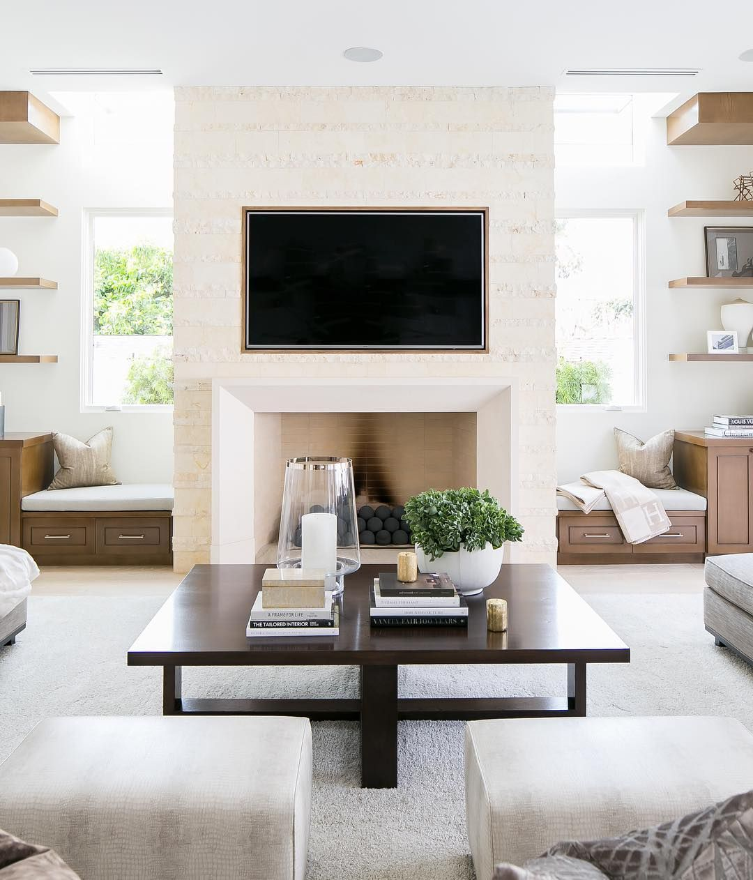 Limestone Fireplace In Neutral Living Room Farm House Living Room Home Fireplace Living Room Light Stand