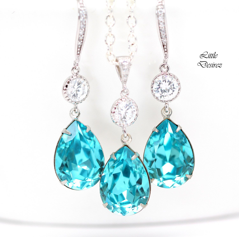 Long Blue Earrings Blue Bridal Jewelry Beach Wedding TQ-31