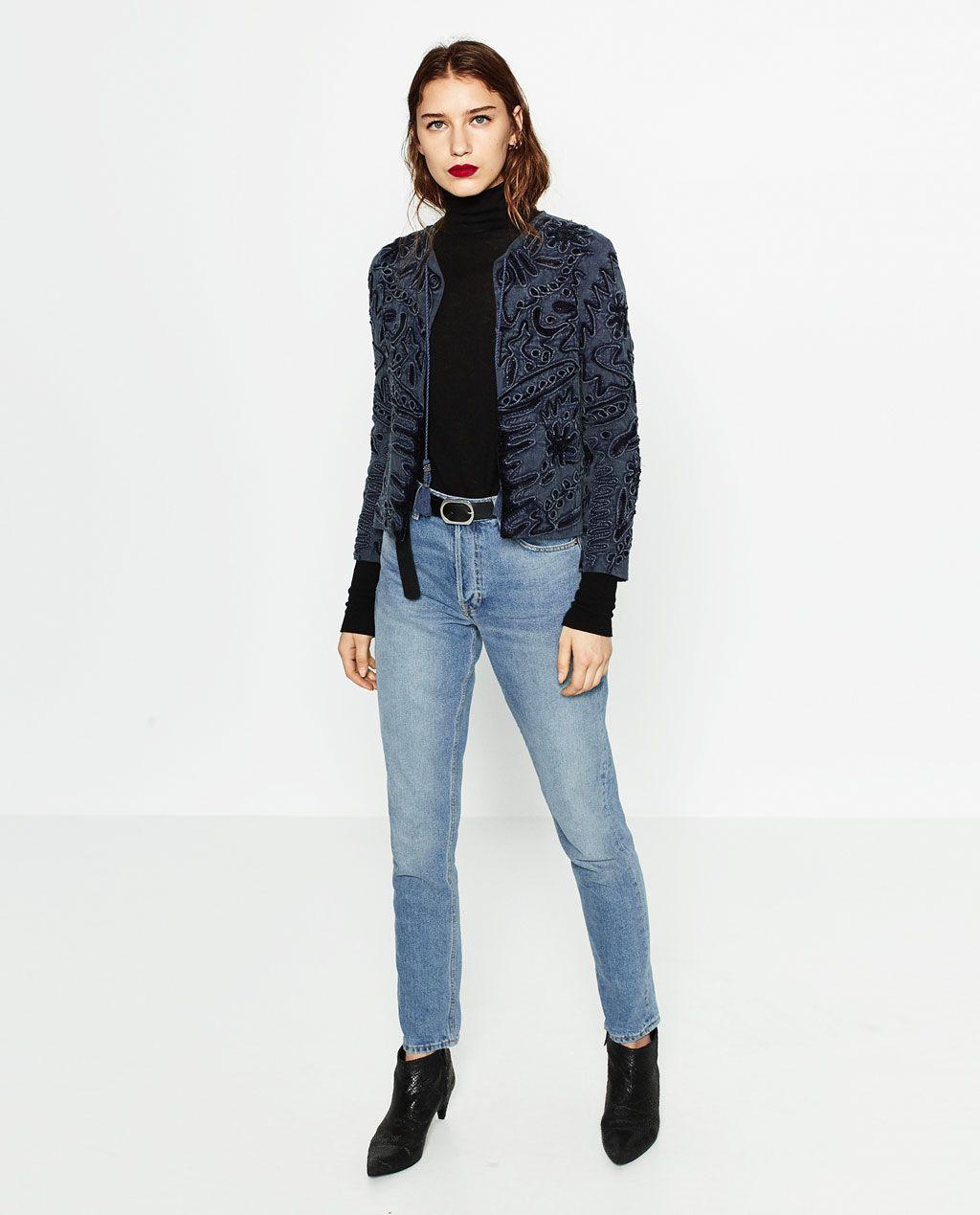 8409f96a50cc изображение 1 из ЖАКЕТ С ВЫШИВКОЙ от Zara Верхняя Одежда Для Женщин, Куртки  Бомбер,