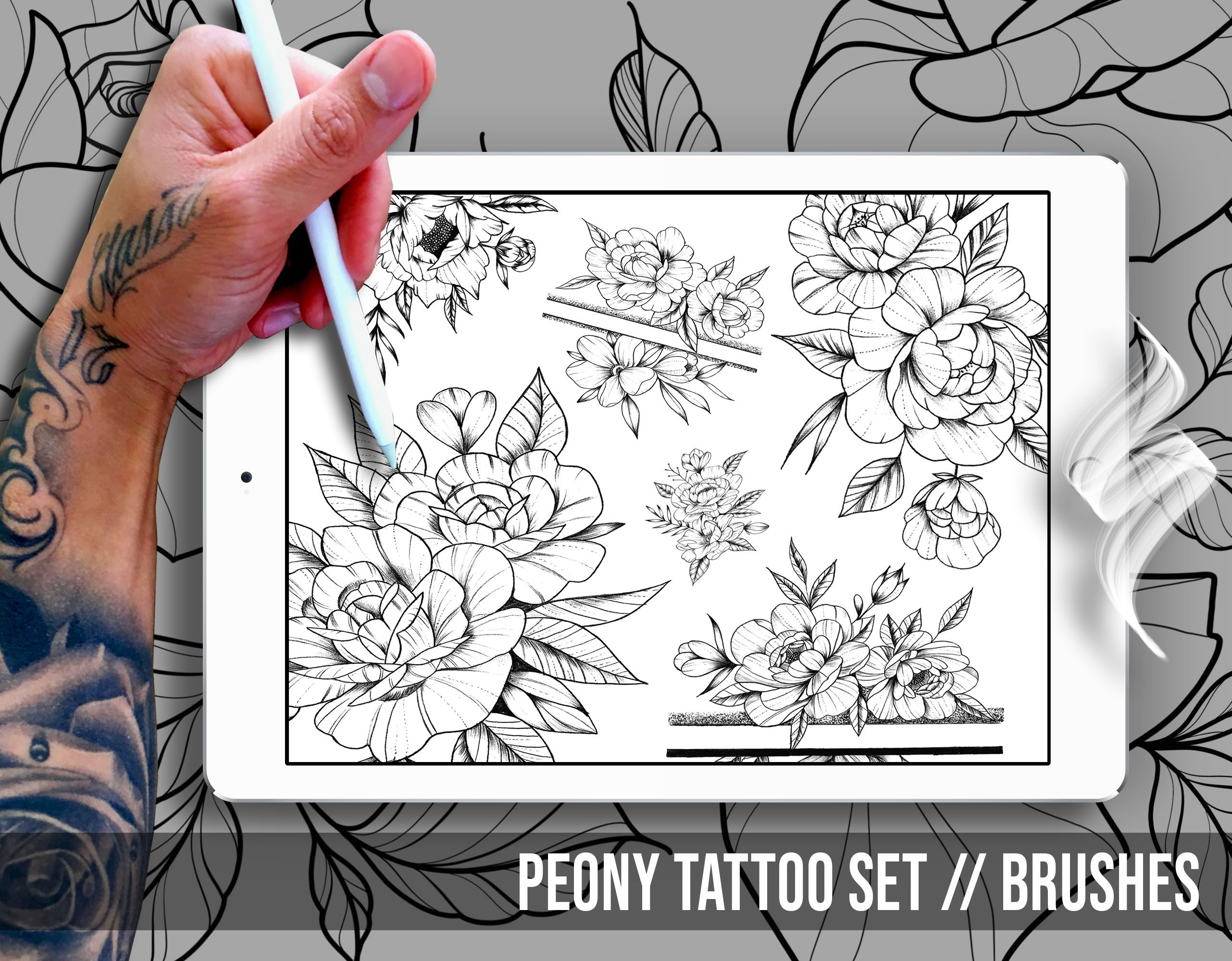 Peony tattoo set brushes for procreate in 2020 tattoo