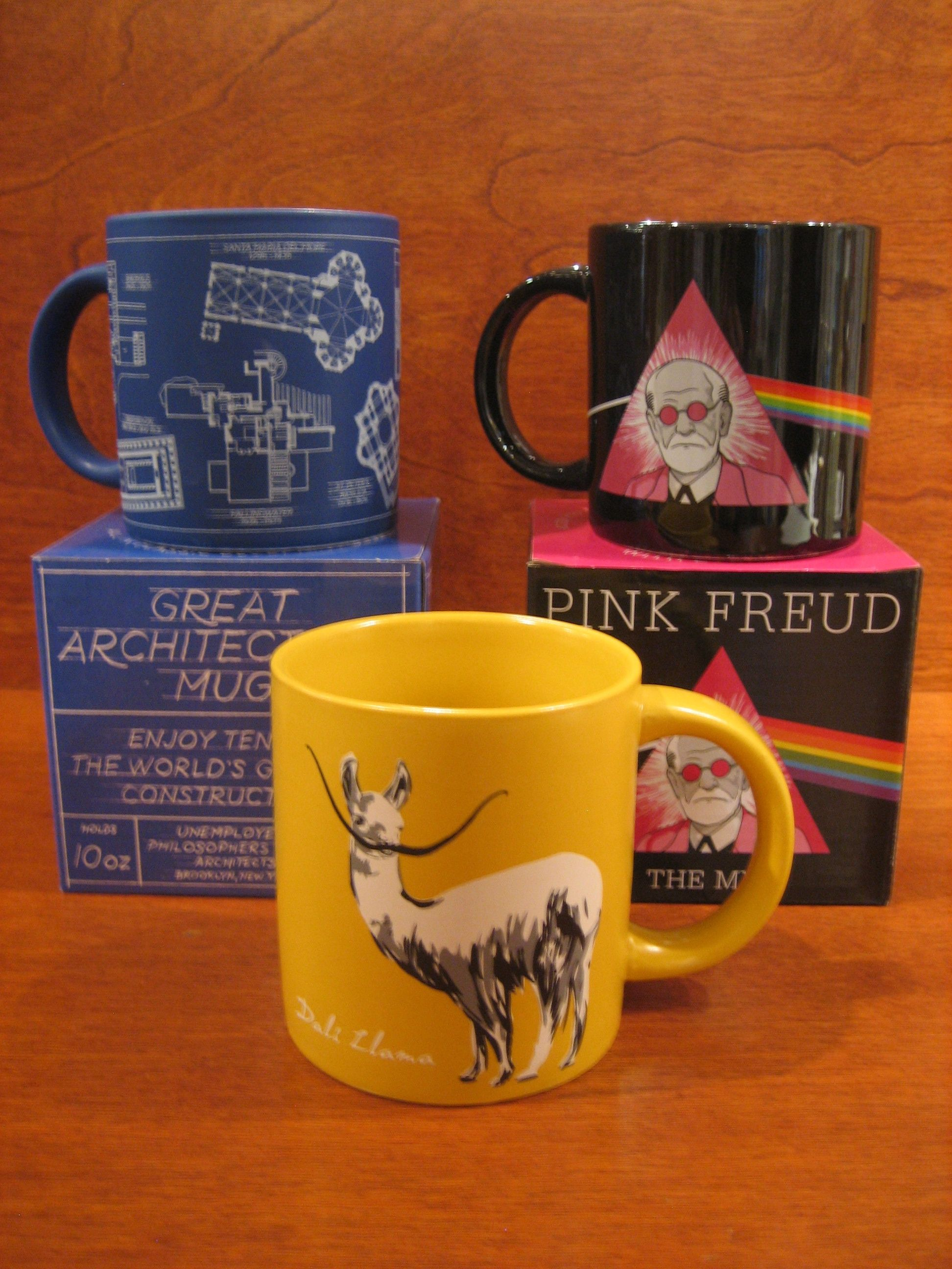 These Unemployed Philosophers Guild mugs are a riot! Get them at our #chestnuthill location only. #mugs #smart #funny #architecture #salvadordali #freud #pinkfloyd #gift #smart #clever #elq1963 #elquetzal #shoplocal
