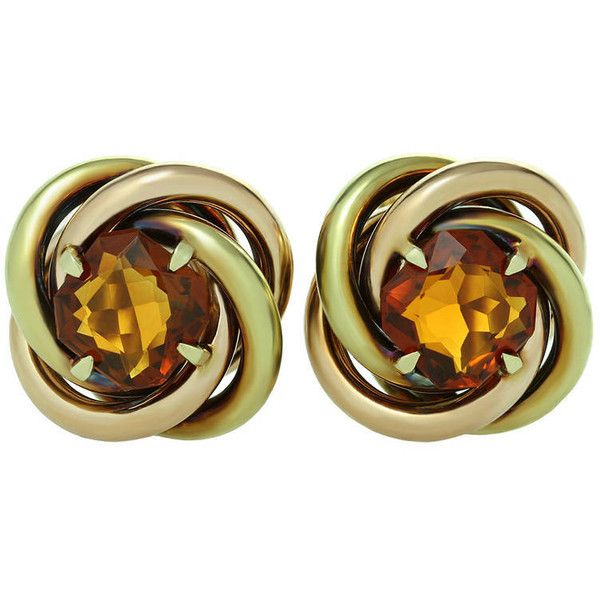 Pre-owned Cartier Love-Knot Citrine Rose and Yellow Gold Earrings ($2,800) ❤ liked on Polyvore featuring jewelry, earrings, clip-on earrings, gold love knot earrings, 18k earrings, 18k gold earrings, rose earrings and gold clip on earrings