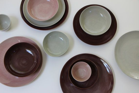 Stoneware Plates Set Handmade Pottery Stoneware Ceramic Plates Ceramic Bowls Stoneware Dinnerware Dish Set Glazed In Grey Brown Pink Stoneware Dinnerware Stoneware Ceramics Pottery Dishes