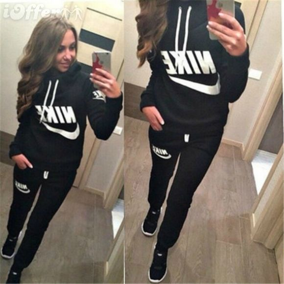 Women Lady Hoodies Sweatshirt Casual Sportswear Running Tracksuit Fashion 2  PCS in Clothes, Shoes & Accessories, Women's Clothing, Hoodies & Sweats