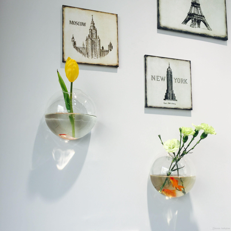 2PCS Wall Mini Siamese fighting fish tank Wall Planter Glass Vase