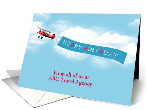 Template Business Birthday Card Sky Message Airplane card – Birthday Card Business