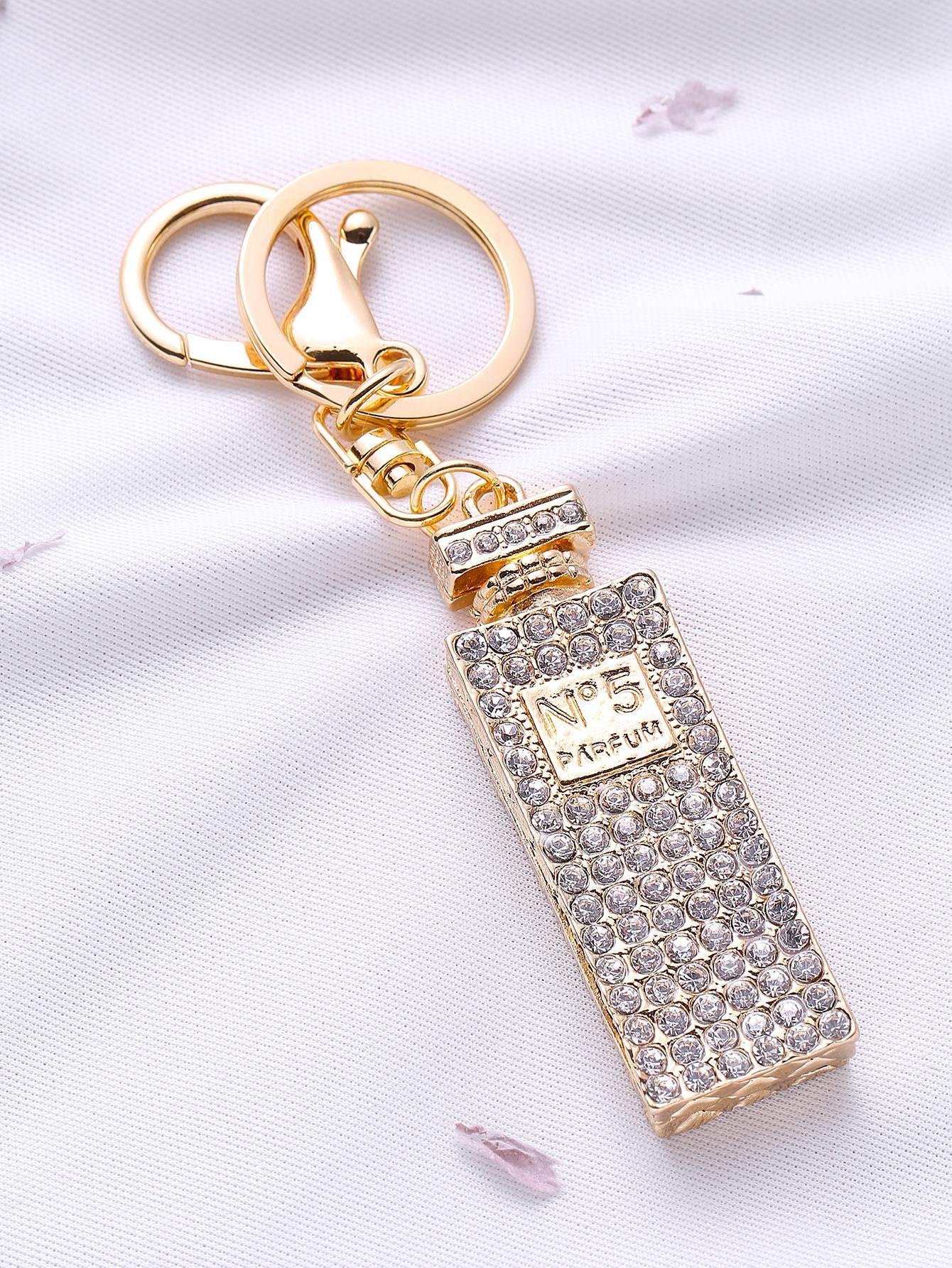 d2578dd13f80 ROMWE - ROMWE Gold Rhinestone Perfume Bottle Keychain - AdoreWe.com ...