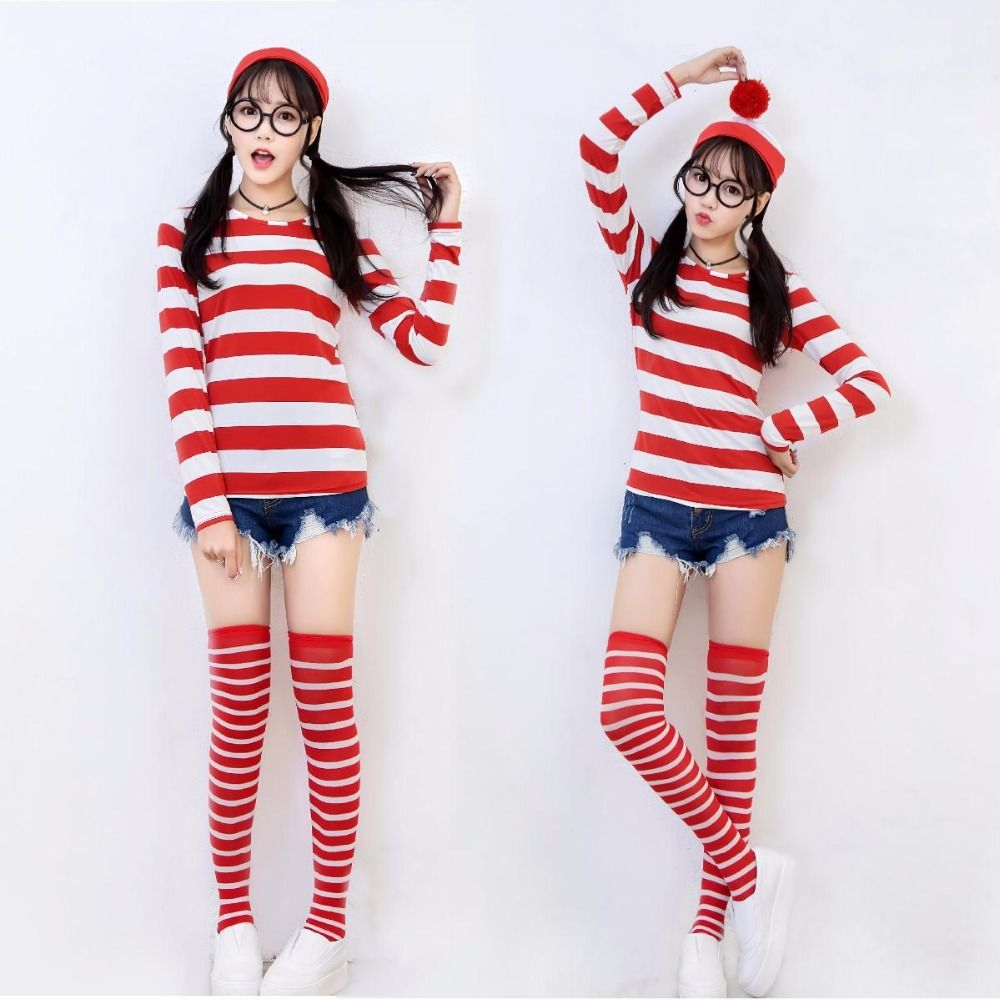 Official Wheres Wally Where/'s Wenda Hat Glasses Mens Ladies Fancy Dress Costume