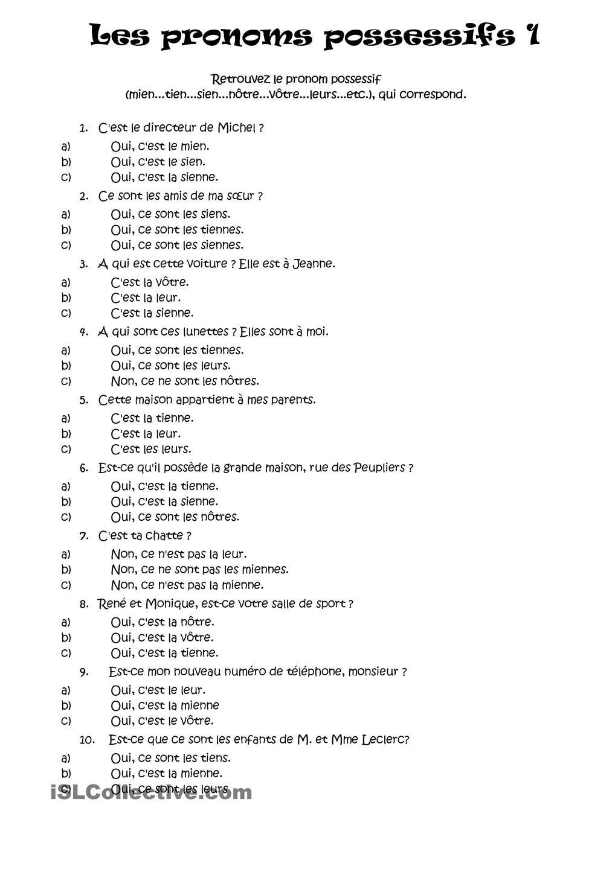 PRONOMS POSSESSIFS | La Langue française | French grammar ...
