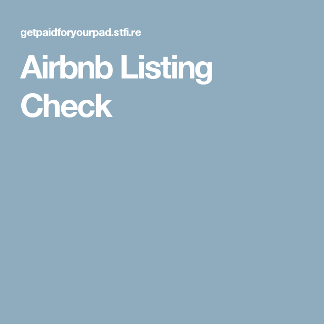 Airbnb Listing Check