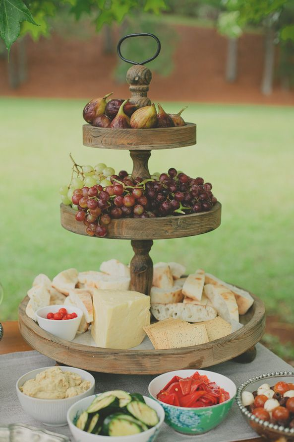 Cheese Amp Fruit Platter Love The Wooden Food Display Cupcake Stand Cheese Table Cheese Display