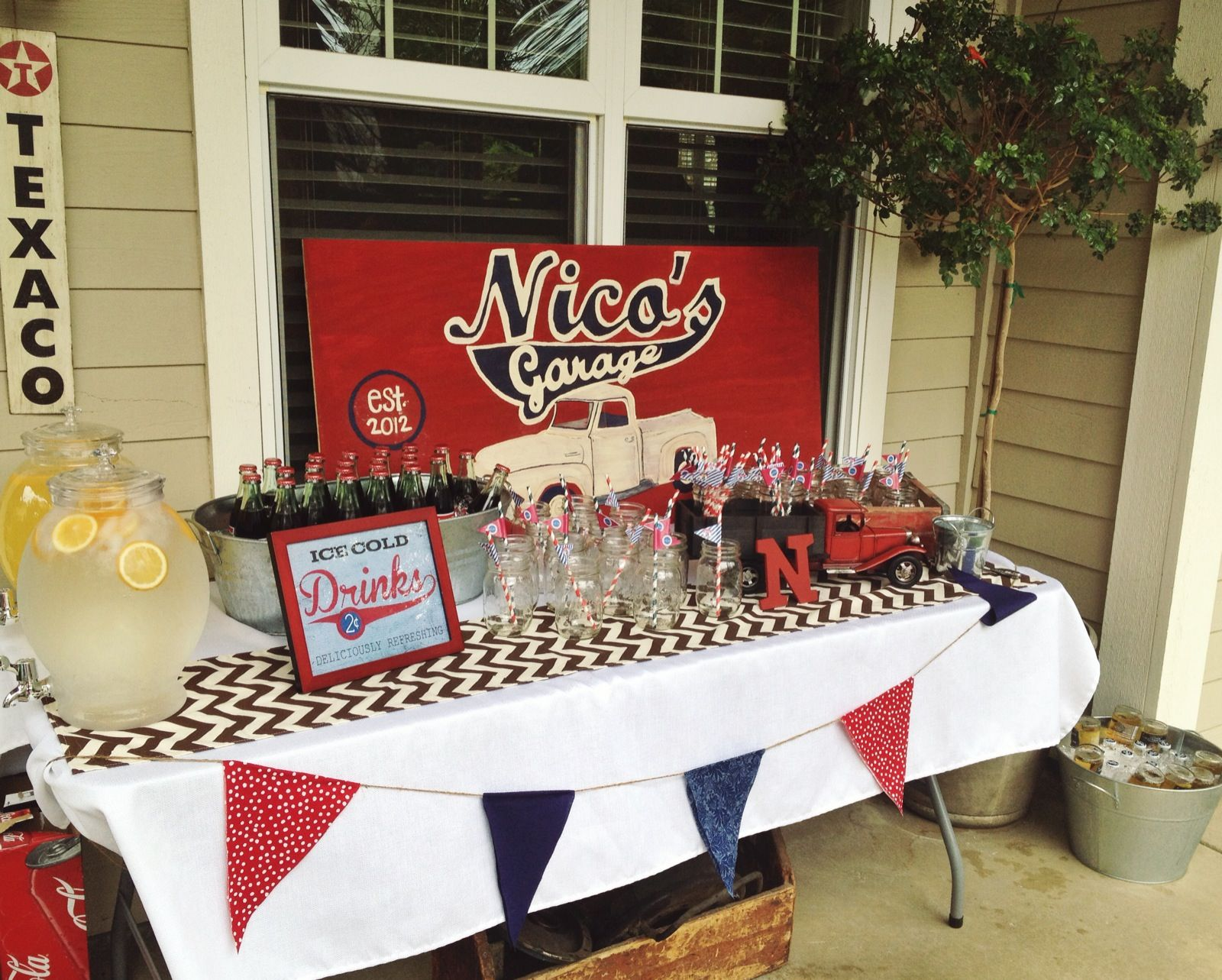 Nicos Garage Birthday Partyvintage Truck Theme Red, Navy, Burlap