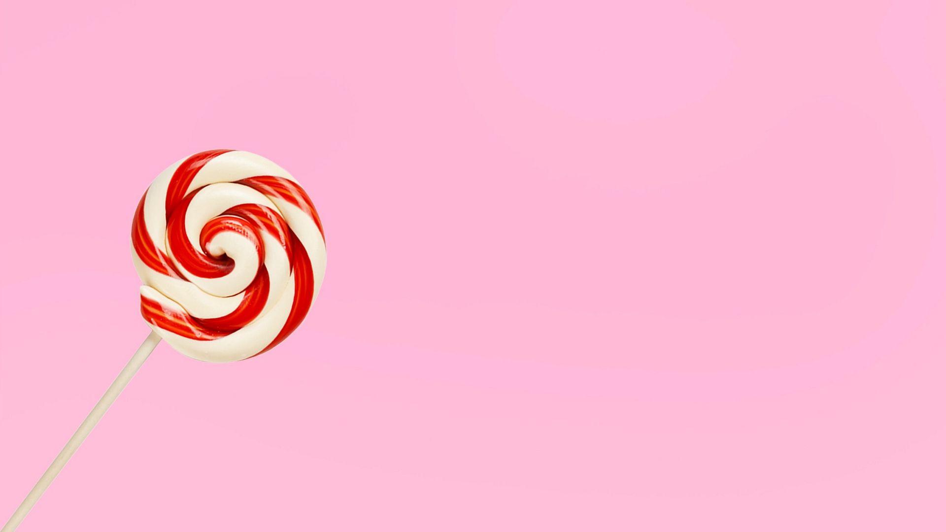 Lollipop And Light Pink Minimal HD Wallpaper